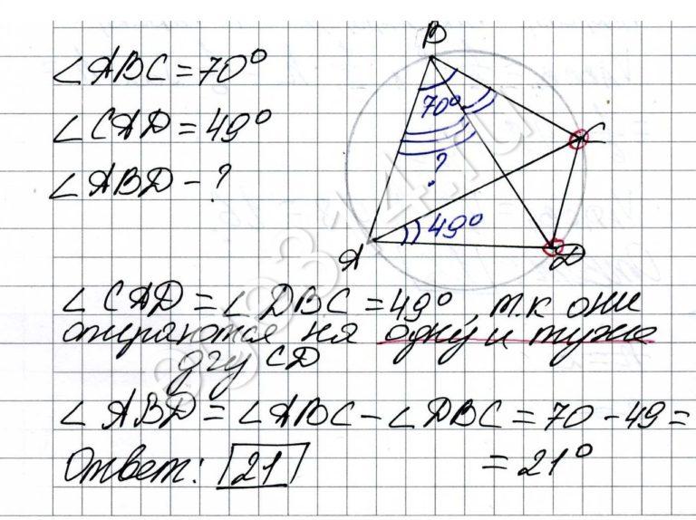 Решение №183 Четырёхугольник ABCD вписан в окружность. Угол ABC равен 70 градусов, угол CAD равен 49 градусов.
