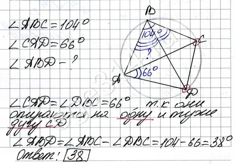 Четырёхугольник ABCD вписан в окружность. Угол ABC равен 104 градуса, угол CAD равен 66 градусов. Найдите угол ABD. Ответ дайте в градусах.