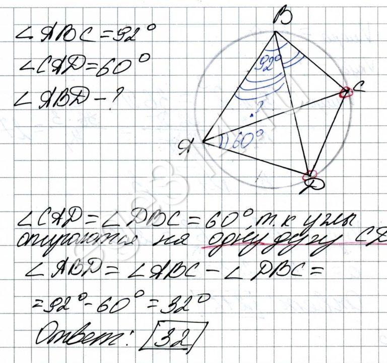 Четырёхугольник ABCD вписан в окружность. Угол ABC равен 92 градуса, угол CAD равен 60 градусов. Найдите угол ABD. Ответ дайте в градусах.