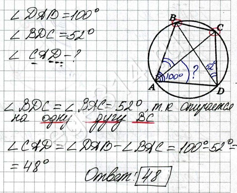 Четырёхугольник ABCD вписан в окружность. Угол DAB равен 100 градусов, угол BDC равен 52 градусам. Найдите угол CAD. Ответ дайте в градусах.