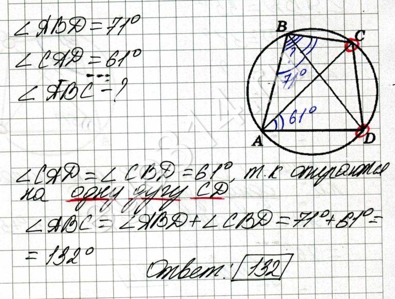 Четырёхугольник ABCD вписан в окружность. Угол ABD равен 71 градус, угол CAD равен 61 градус. Найдите угол ABC. Ответ дайте в градусах.