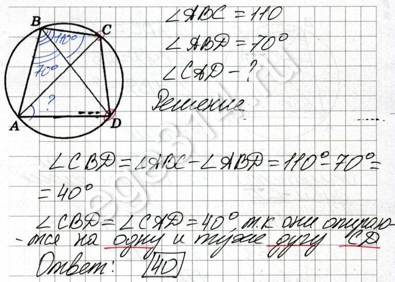 Четырёхугольник ABCD вписан в окружность. Угол ABC равен 110 градусов, угол ABD равен 70 градусов. Найдите угол CAD. Ответ дайте в градусах.