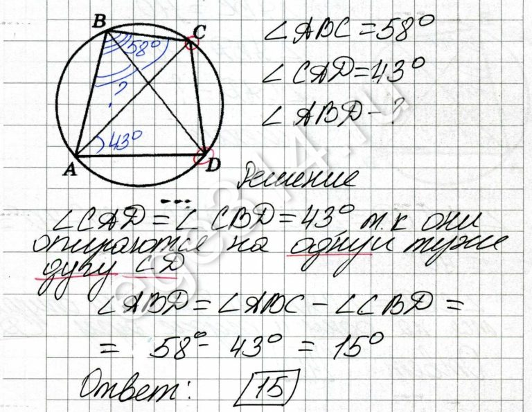 Четырёхугольник ABCD вписан в окружность. Угол ABC равен 58 градусов, угол CAD равен 43 градуса. Найдите угол ABD. Ответ дайте в градусах.