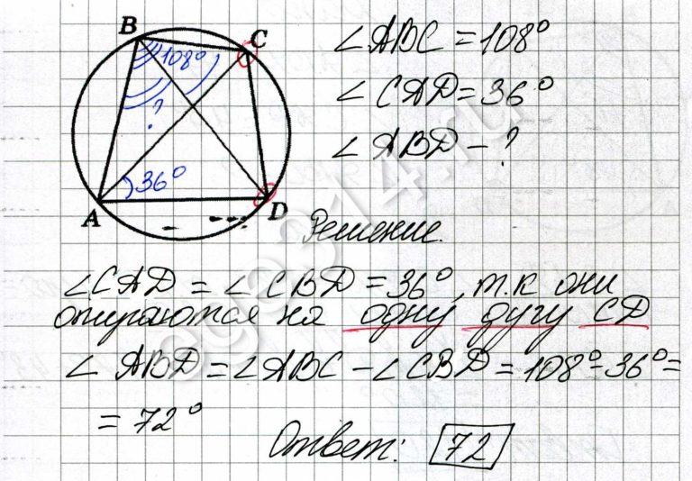 Четырёхугольник ABCD вписан в окружность. Угол ABC равен 108 градусов, угол CAD равен 36 градусов. Найдите угол ABD. Ответ дайте в градусах.