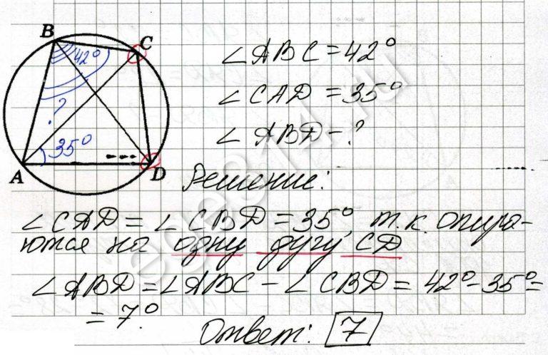 Четырёхугольник ABCD вписан в окружность. Угол ABC равен 42 градуса, угол CAD равен 35 градусов. Найдите угол ABD. Ответ дайте в градусах.