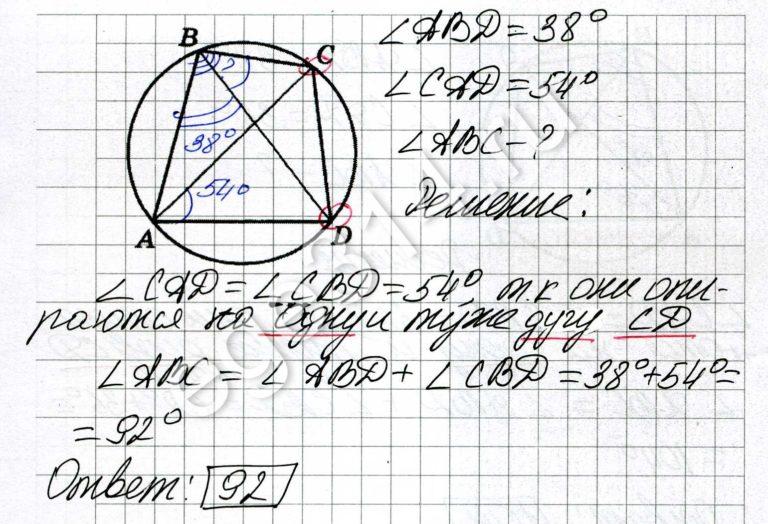 Четырёхугольник ABCD вписан в окружность. Угол ABD равен 38 градусов, угол CAD равен 54 градуса. Найдите угол ABC. Ответ дайте в градусах.