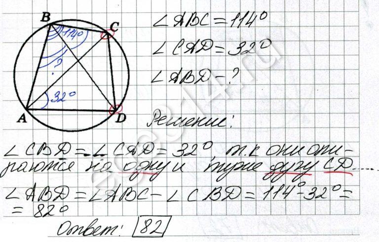 Четырёхугольник ABCD вписан в окружность. Угол ABC равен 114 градусов, угол CAD равен 32 градуса. Найдите угол ABD. Ответ дайте в градусах.
