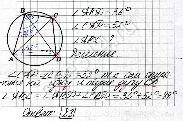 Четырёхугольник ABCD вписан в окружность. Угол ABD равен 36 градусов, угол CAD равен 52 градуса. Найдите угол ABC. Ответ дайте в градусах.