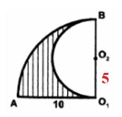 Решение №491 Найдите площадь S заштрихованной фигуры, изображённой на рисунке если, АО1 = 10. В ответе укажите S/pi.