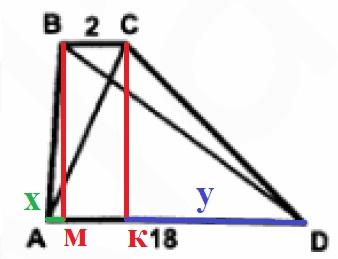 Решение №498 Найдите площадь трапеции, изображенной на рисунке, если АС=7, BD=15.