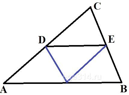 Решение №1964 Площадь треугольника 𝐴𝐵𝐶 равна 183, 𝐷𝐸 — средняя линия, параллельная стороне 𝐴𝐵.