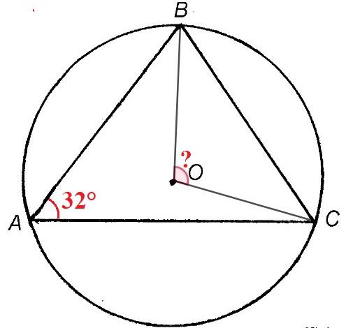 Решение №517 Треугольник ABC вписан в окружность с центром О. Угол ВАС равен 32°.