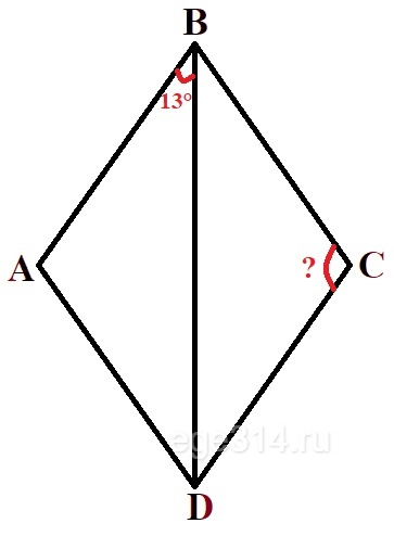 Решение №519 В ромбе ABCD угол DBA равен 13°.