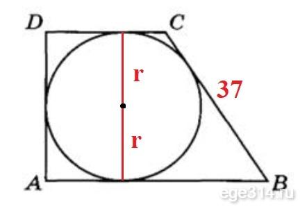 AD = 2r. Боковая сторона равна 37.