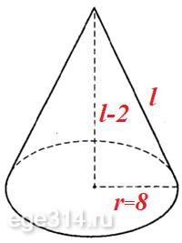 Решение №555 Площадь основания кругового конуса равна 64pi см2.
