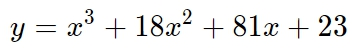 Найдите точку максимума функции y=x^3+18x^2+81x+23.