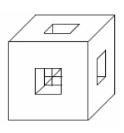 Для каждой грани куба с ребром 6 проделали сквозное квадратное отверстие со стороной квадрата 2.