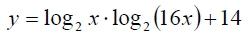 Найдите наименьшее значение функции y=log2 x*log2 (16x)+14