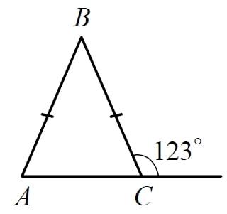 В равнобедренном треугольнике ABC с основанием AC внешний угол при вершине C равен 123°.