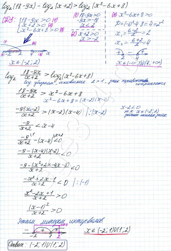 Решите неравенство log2 (18-9x)-log2 (x+2)>log2 (x^2-6x+8)