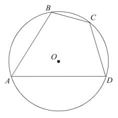 Два угла вписанного в окружность четырехугольника равны 82° и 58°.