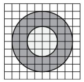Площадь внутреннего круга равна 56.