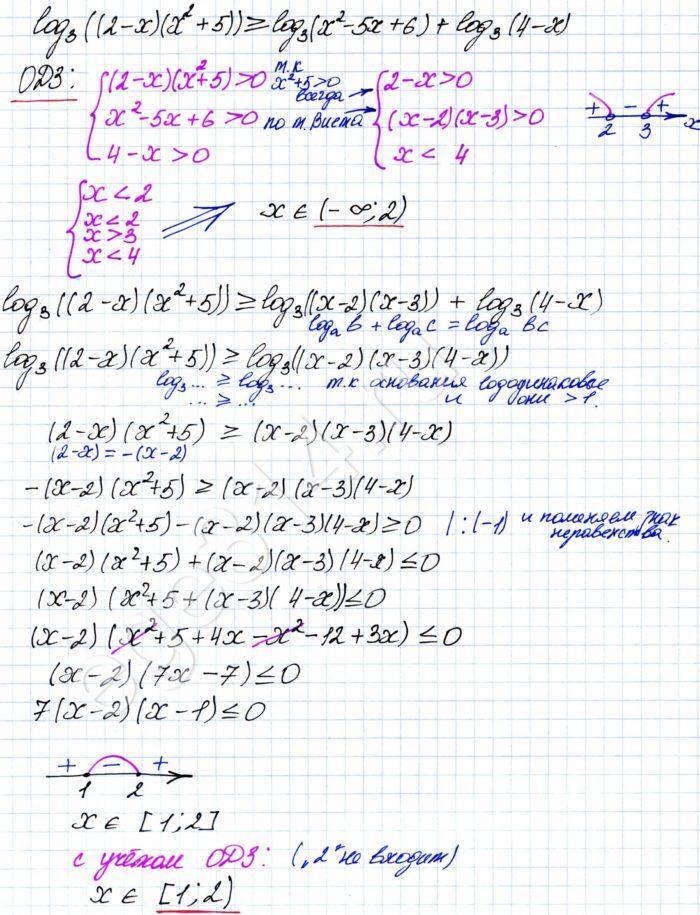 Решите неравенство log3 ((2-x)(x^2+5))=log3 (x^2-5x+6)+log3 (4-x)