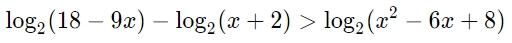 Решите неравенство log2 (18-9x)-log2 (x+2)log2 (x^2-6x+8)