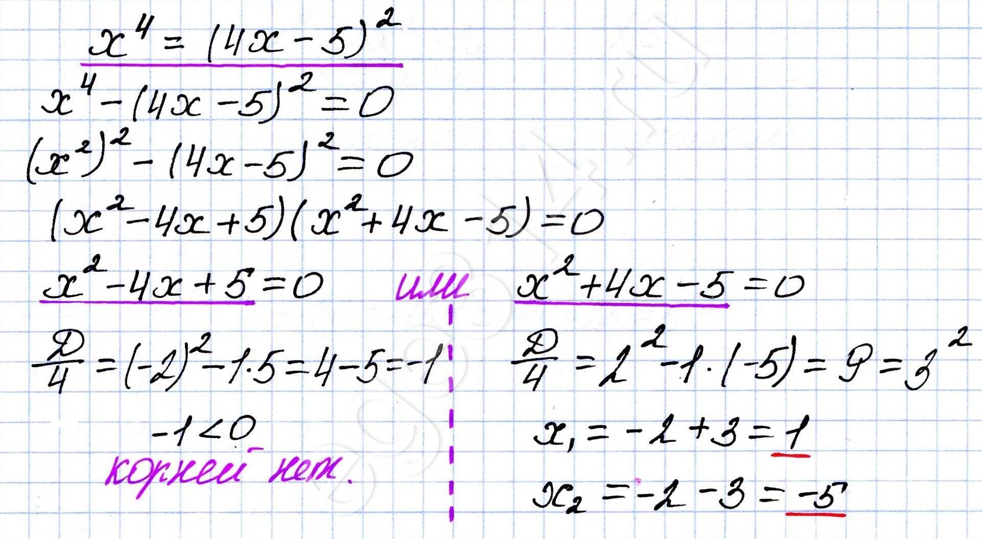 Решение уравнения x^2=(4x-5)^2