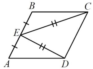 В параллелограмме ABCD точка E — середина стороны AB.