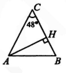 В равнобедренном треугольнике АВС с основанием АВ угол С равен 48