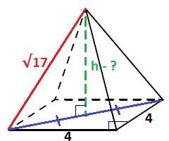Решение Найдите объём правильной четырёхугольной пирамиды