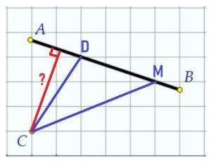 На клетчатой бумаге с размером клетки 1 см × 1 см отмечены прямая АВ и точка С.