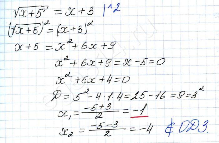 Найдите корень уравнения √(х+5)=х+3