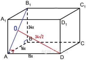 Расстояние от центра грани АВВ1A1 до вершины D равно 34√2.