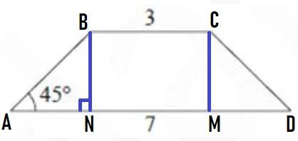 В равнобедренной трапеции основания равны 3 и 7 .