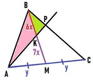 В треугольнике АВС на его медиане ВМ отмечена точка К так, что ВК : КМ = 6 : 7.