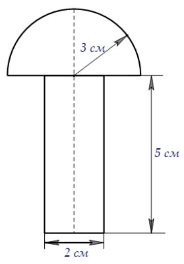 Деталь (осевое сечение которой представлено на рисунке) имеет форму полушара с приставленным в центральной части круга цилиндром.