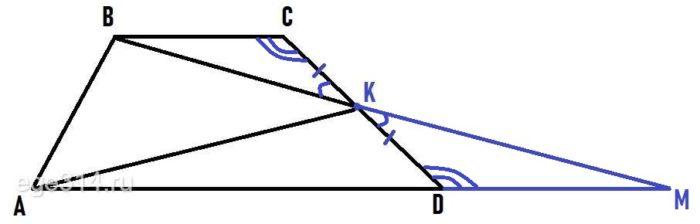 Докажите, что площадь треугольника АВК равна сумме площадей треугольников ВСК и АКD.