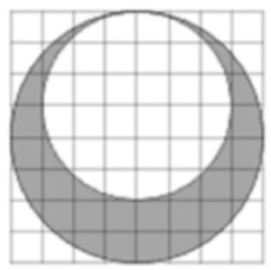 На клетчатой бумаге нарисовано два круга.