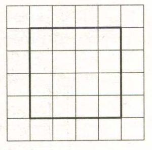 На клетчатой бумаге с размером клетки 1 х 1 изображён квадрат.