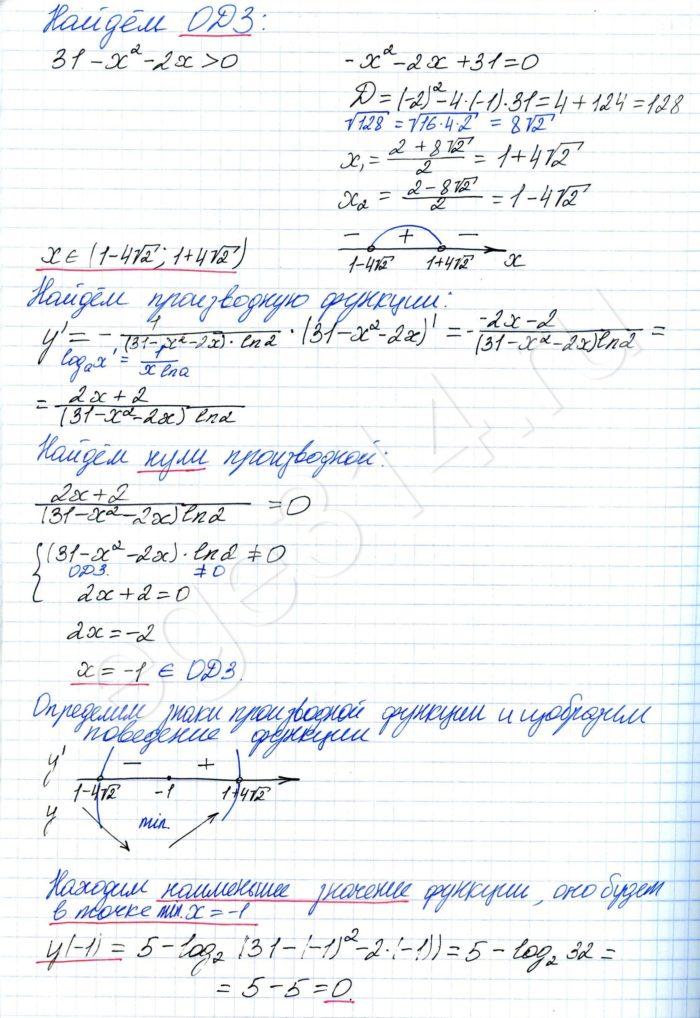 Найдите наименьшее значение функции f(x) = 5 – log2(31 – x2 – 2x)