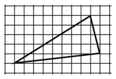 Найдите площадь треугольника, изображенного на клетчатой бумаге с размером клетки 1см х 1см (см. рис.).