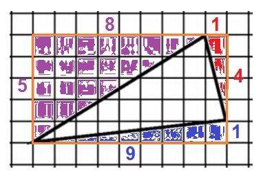 Решение №974 Найдите площадь треугольника, изображенного на клетчатой бумаге с размером клетки 1см х 1см (см. рис.)