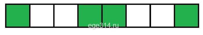 Оказалось, что среди всех клеток есть ровно 4, рядом с которыми есть соседняя по стороне клетка зелёного цвета.