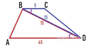 Основания ВС и АD трапеции АВСВ равны соответственно 5 и 45, BD = 15.