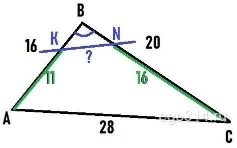 Прямая пересекает стороны АВ и ВС треугольника АBС в точках К и N соответственно.