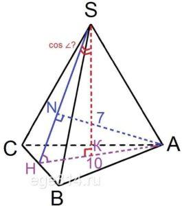 Расстояние от вершины основания правильной треугольной пирамиды до плоскости боковой грани