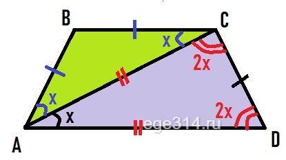 Равнобокая трапеция АВСD разбивается диагональю АС