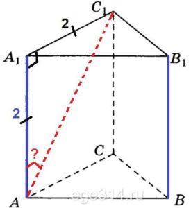 В правильной треугольной призме АВСА1В1С1, все рёбра которой равны 2, найдите угол между прямыми BB1 и АС1. Ответ дайте в градусах.